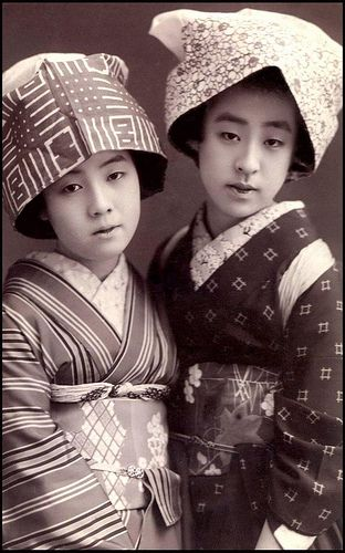 "Two ""Country Geisha"" With Eyes for You. By Okinawa S    Gelatin silver print from old Japan, ca.1910 to 1920."