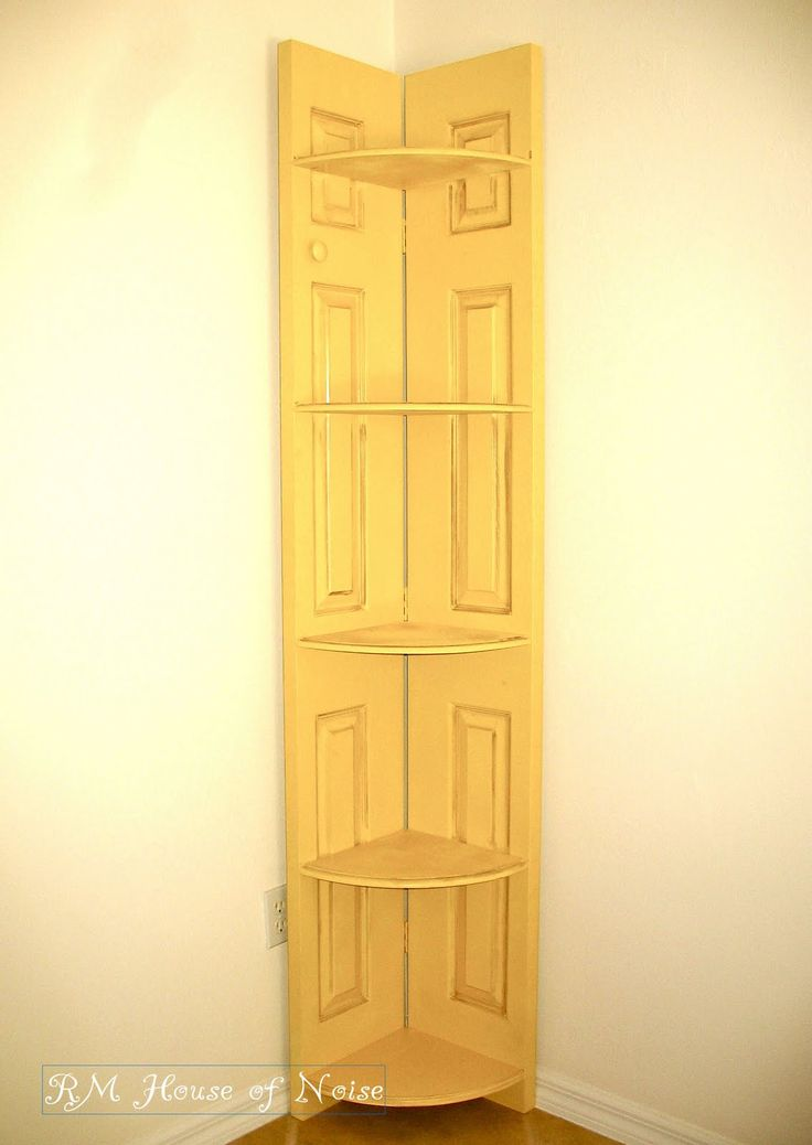 Corner shelve from bifold closet doors....I have 2 sets of these doors in the basement to do something with!.