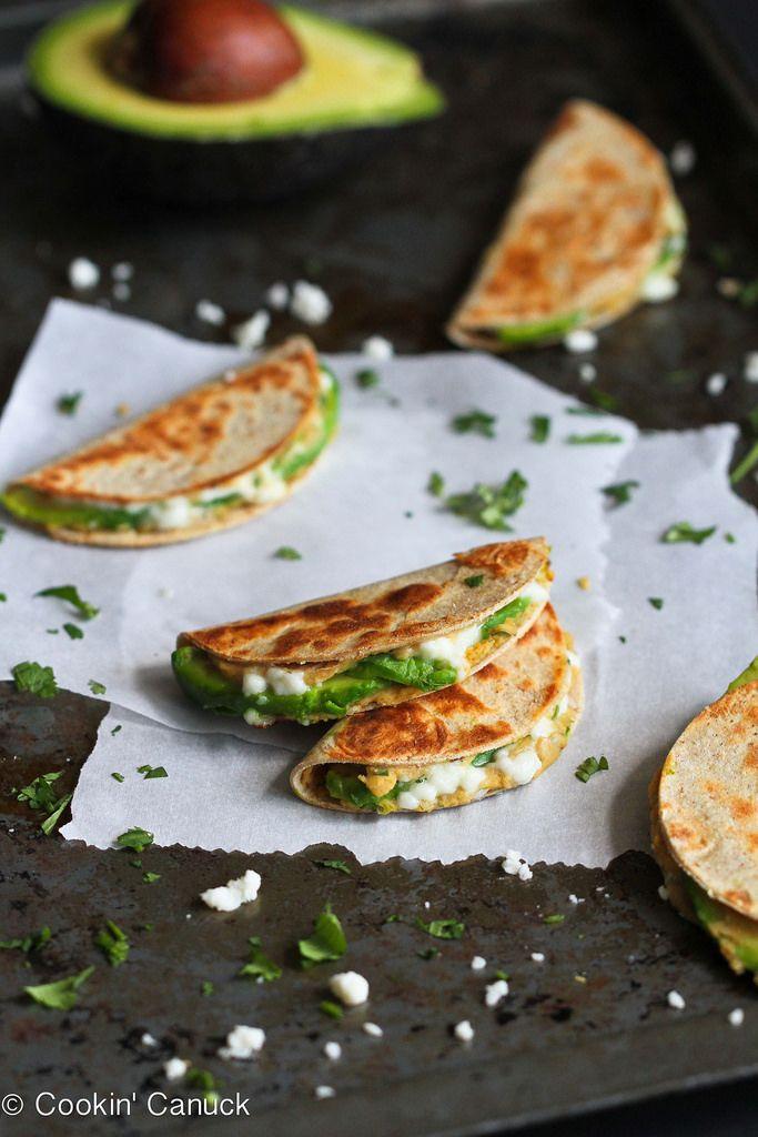 Mini Avocado & Hummus Quesadilla Recipe {Healthy Snack}   cookincanuck.com #snack #vegetarian