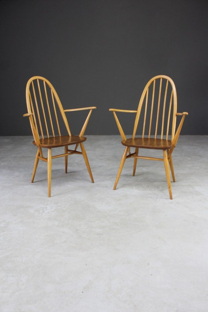 Pair Vintage Ercol Carver Chairs Copper Furniture Chair Retro