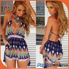 2015 Rompers Womens Jumpsuit Summer Strap Spaghetti Sexy V Elegant Bodycon Short Jumpsuit Floral Print Backless Bodysuit Overall Best Seller follow this link http://shopingayo.space