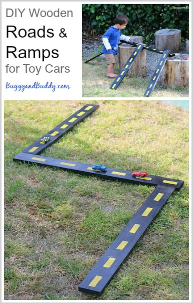 DIY Wooden Roads and Ramps for Toy Cars- Perfect for outside play, and they've lasted us years! ~ BuggyandBuddy.com