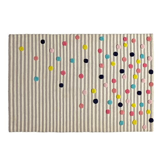 Sprinkles make everything that much better.  Even striped rugs.  Made of 100% wool, the grey and white stripes on this rug get a dash of color from everybody's favorite food group.  Yes, sprinkles are a food group.