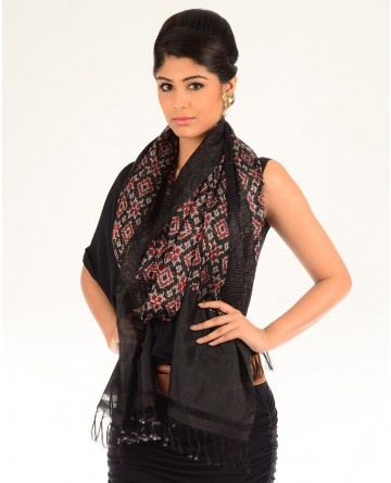 Black Ikat Stole with Multicolored Motifs