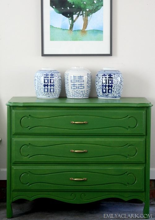 a painted green chest (Caper Berry by Martha Stewart Living) + a $100 Home Depot giveaway:  http://emilyaclark.com/2014/04/painting-a-dresser-a-100-home-depot-giveaway.html