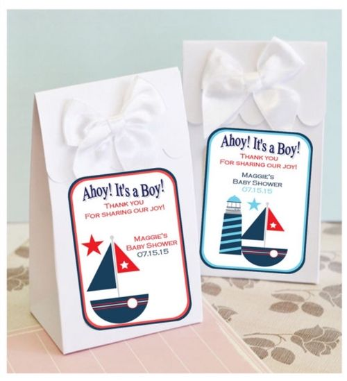 Personalized Nautical Design Baby Shower Boxes With Bows (set of 12 - boils down to $1.50 each!)