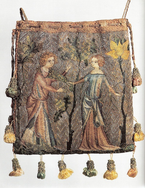 Purse, Paris, c. 1340. Purse depicting lovers, worked in Paris c. 1340 Linen embroidered in silk in split, chain, stem and knot stitches, the background of gold threads couched with red silk. Museum of London? 'Medieval Craftsmen: Embroiderers' by Kay Staniland pg 43
