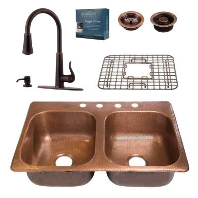 SINKOLOGY Pfister All-In-One Copper Kitchen Sink Design Kit with Ashfield Pull Down Faucet-KDF-3322-GT529 - The Home Depot