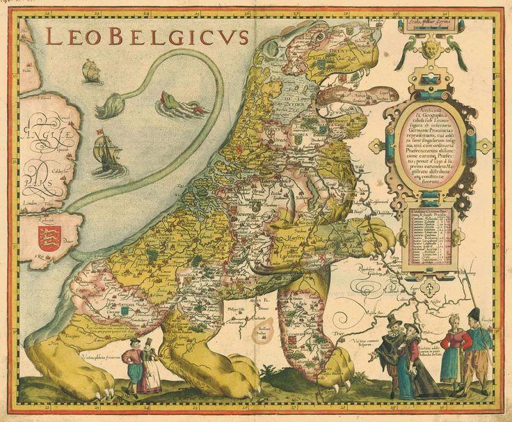 Leo Belgicus by Petrus Kaerius (1617), copied from the original design by Michael Aitzinger.
