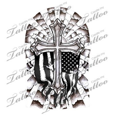 Cross half sleeve | Cross Half Sleeve - Shaded with Flag #110978 | CreateMyTattoo.com