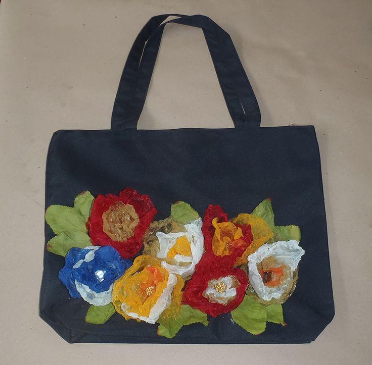 Flowers with fabric on textil bag www.artvoyage.gr
