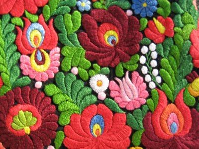 Traditional Hungarian embroidery.  I have several items similar to this made by my Hungarian grandmother and auntie.