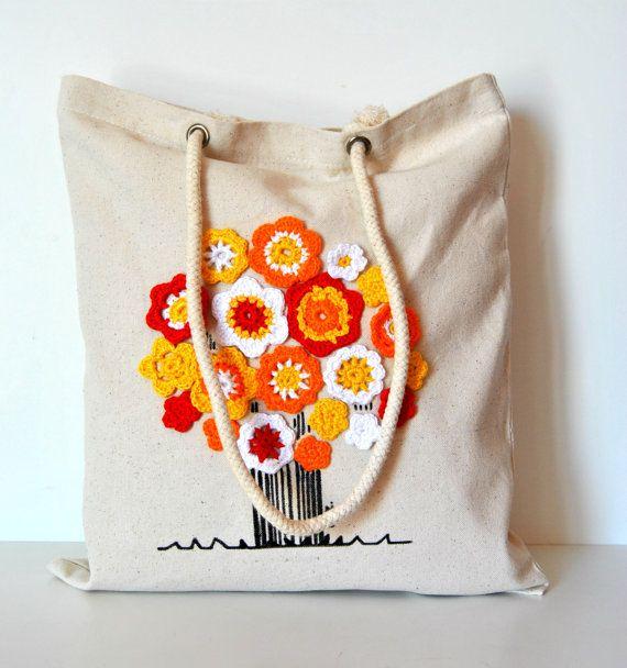 Canvas Tote bag Organic cotton tote bag by Lemiecreazionidarte, $38.00