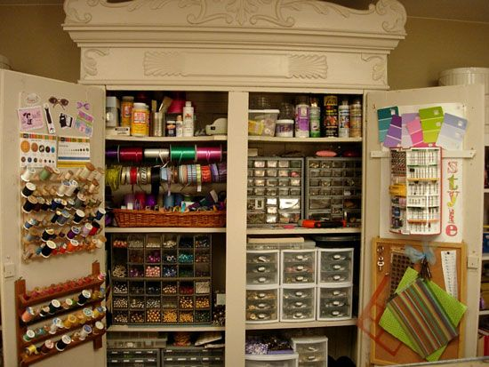 "I love this idea! An armoire for craft storage. Shut the doors and you just see a beautiful piece of furniture. Awesome! This might be the only craft ""room"" I will ever get!!"