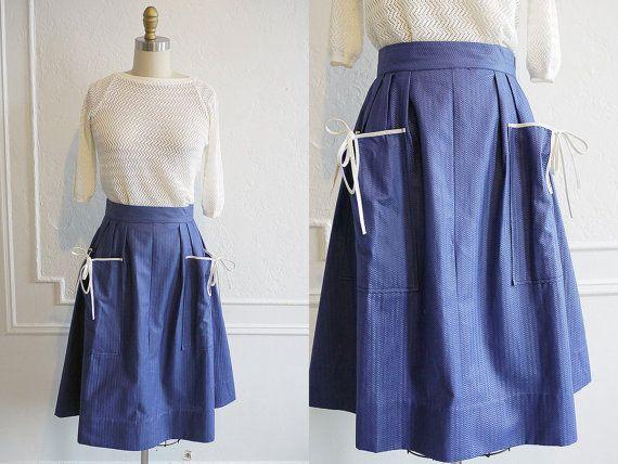 Vintage 1950s Skirt / Blue 1950s Skirt / 50s by FiendsAndLovers