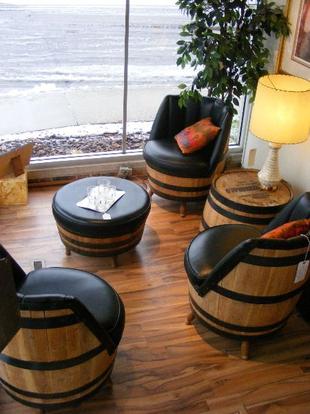 Vintage Whiskey Barrel Swivel Chair Set With Ottoman