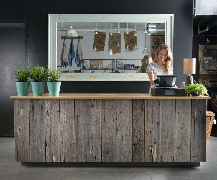 Checkout counter crafted from salvaged barn wood. Photo: Jeffrey Martin