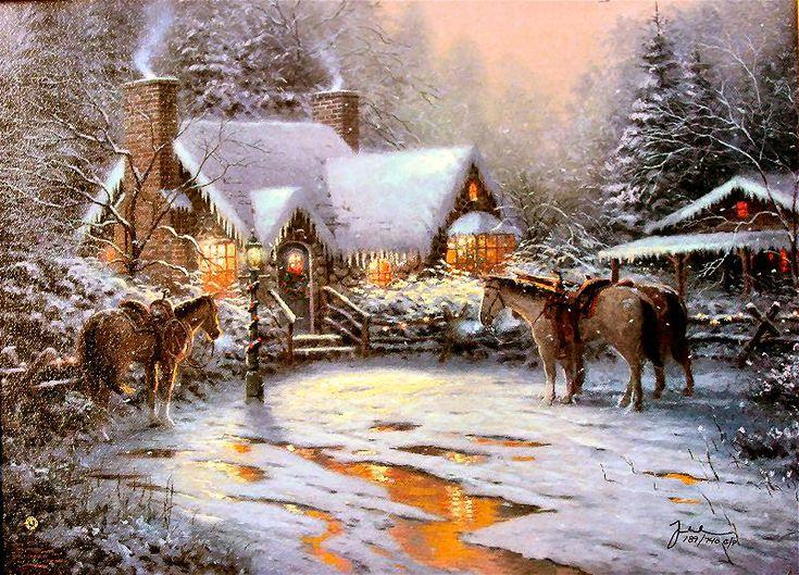 Thomas Kinkade Christmas Cottage Christmas Welcome Christmas Cottage Vii By Thomas Kinkade Winterbilder Weihnachtsbild Weihnachtsszenen