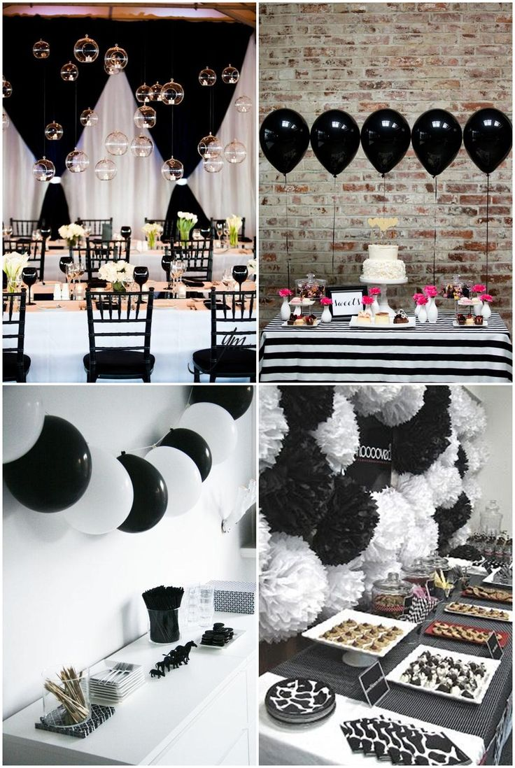 Adult birthday table decorations - Simple Black And White Party Ideas
