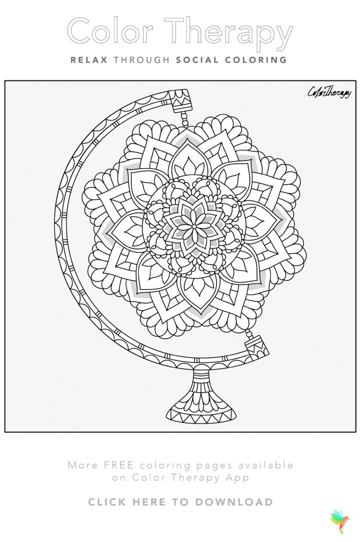 Color Therapy Gift Of The Day Free Coloring Template In 2020 Coloring Book Art Coloring Pages Color Therapy