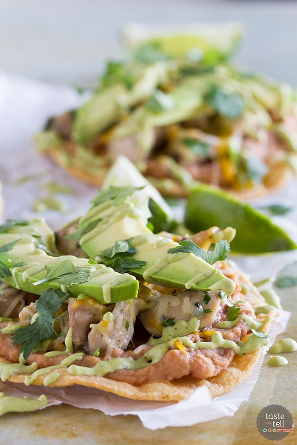 An easy Mexican dinner at home, these Chicken Tostadas with Poblano Cream Sauce have tons of flavor and are perfect for a weeknight. My family loved these!:
