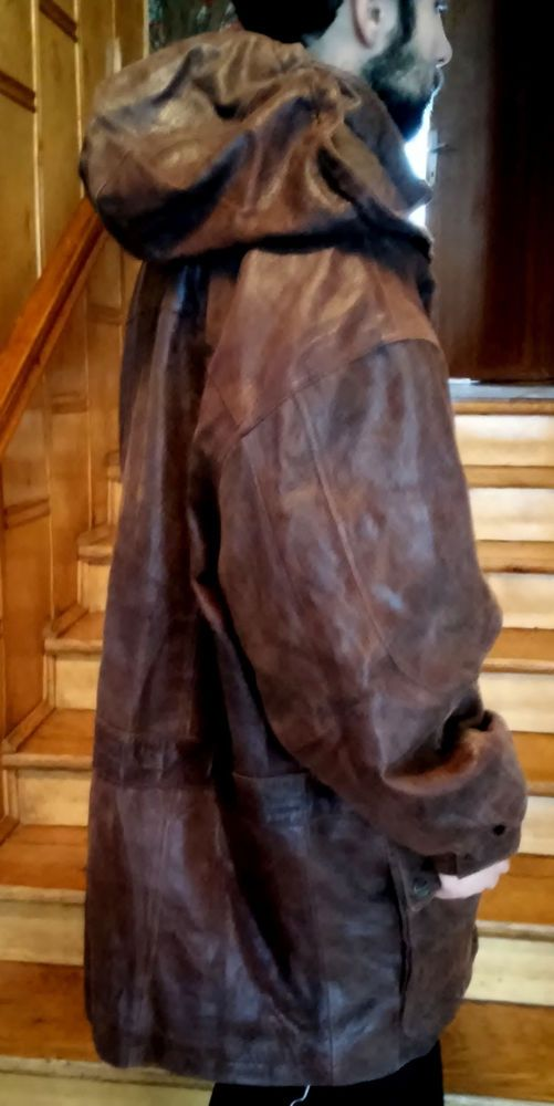 Wilson Leather leather men's jacket with a hood XXL #WilsonLeather #BasicJacket