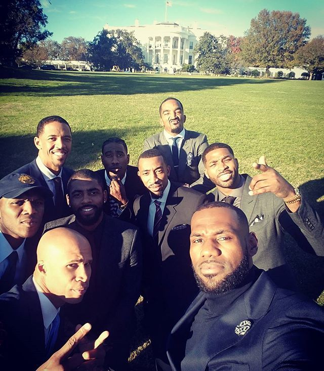 Never thought in a million years I would stand in the front lawn of the White House! Beyond blessed with some of my woes!! #StriveForGreatness🚀 #RWTW🏅 #TheKidFromAkron👑