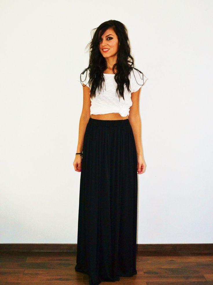Maxi jupe longue noire en jersey taille haute, fluide et plissée tendance  hiver ou été style bohème