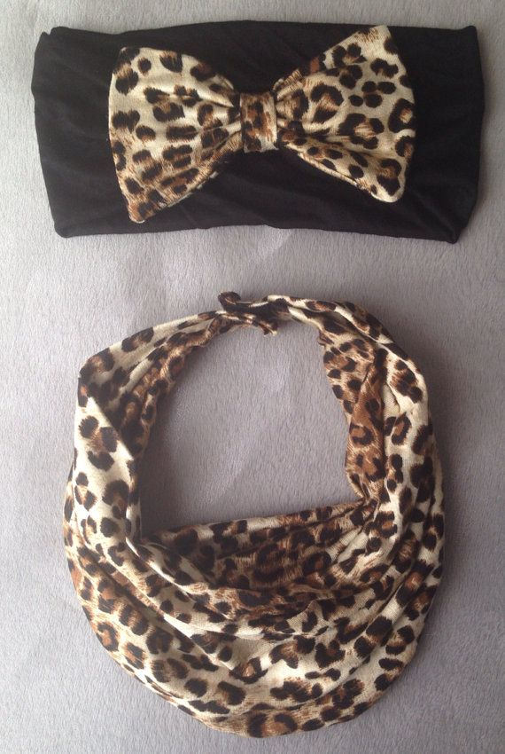 Cheetah Matching Baby Scarf Bib & Bow Headband by AvileeBabyCo