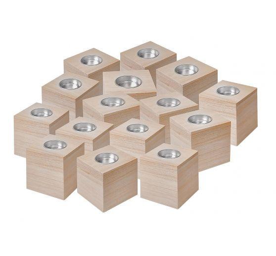 15 Teelichtwürfel, Rohholz, ca. 8x8x8cm, VBS Großhandelspackung