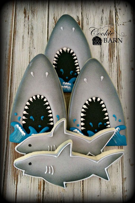 Shark Fish Ocean Nautical Decorated Sugar Cookies by CookieBarn
