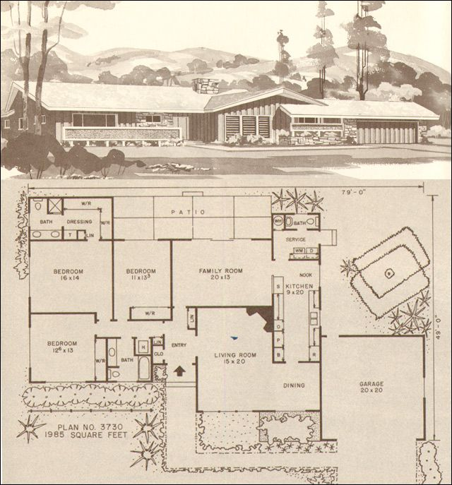 In 1960, the average home had about 1200 square feet, which made this plan palatial by comparison. A modern ranch with three bedrooms and two and a half baths includes a master suite with walk-through closet, this kid-friendly plan also offers a family room with direct access to backyard play space and a living room suitable for entertaining. An easy walk from the garage to the service entrance minimizes grocery lugging.