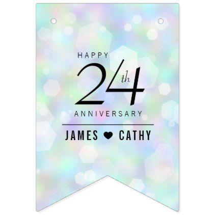 Elegant 24th Opal Wedding Anniversary Celebration Bunting Flags - wedding decor marriage design diy cyo party idea