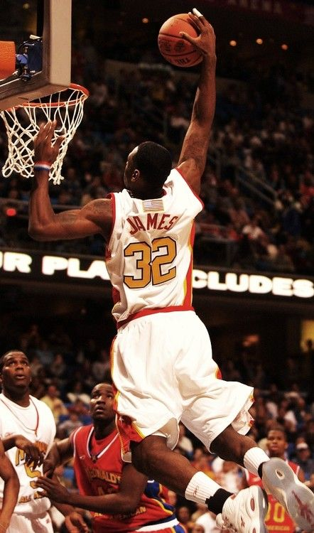 LeBron James in the high school McDonald's All-American game.