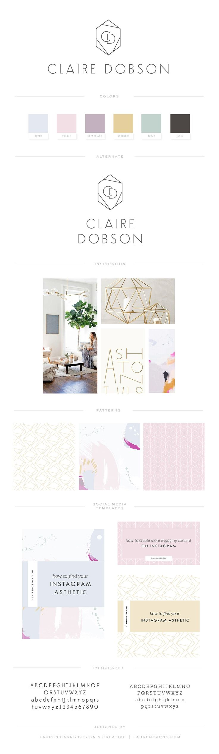 Claire is a photographer-turned-influencer who was launching a new stock site and wanted a refreshed look for her personal brand that reflected her growing audience and interests. Claire had pinned a lot of Art Deco styled type but also had a lot of California boho details on her inspiration board. So we combined them and …