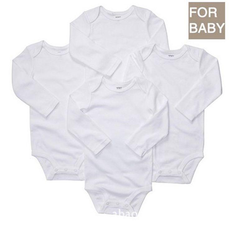 Ребенка комбинезон хлопка простой белый с длинным рукавом ребенка ползунки для новорожденного мальчика девочка летняя одежда