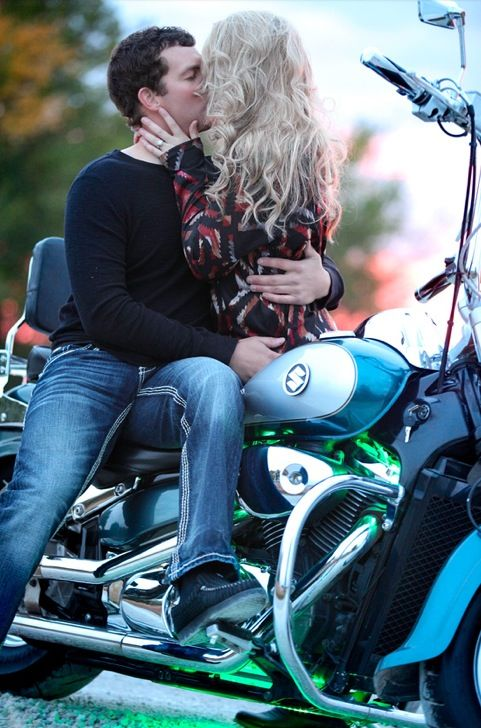 Motorcycle engagement picture-getting steamy;)