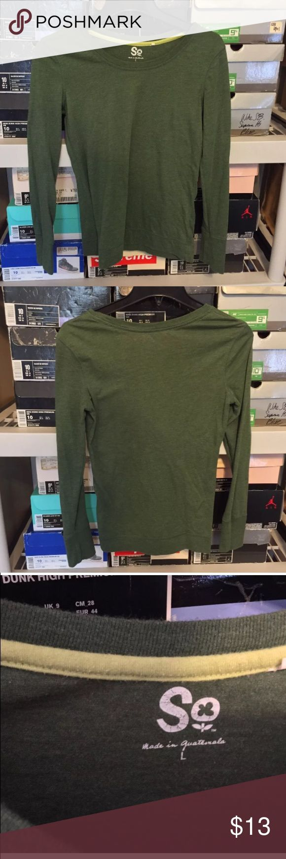 Womens SO Olive Green Long Sleeve Top Size L Women's SO Long sleeve T Shirt  Size large  Good condition has slight fading! so  Tops Tees - Long Sleeve