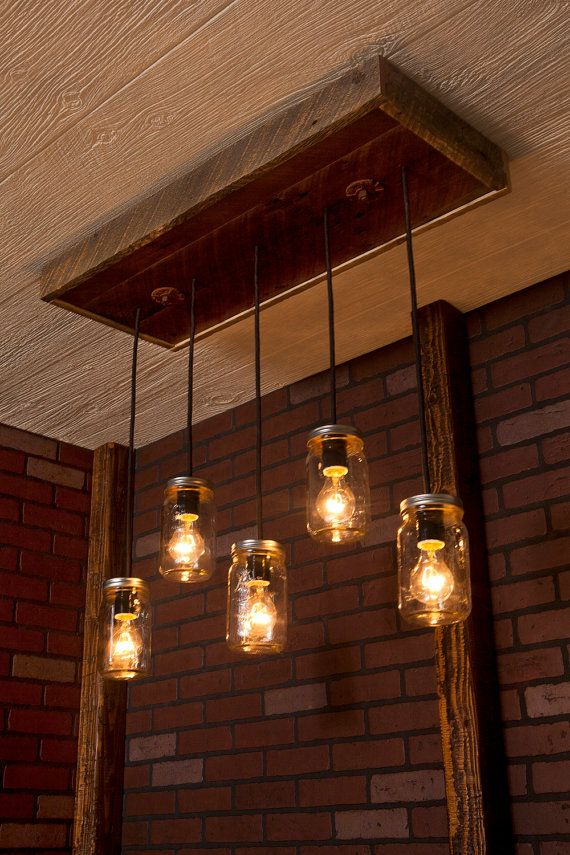 Mason Jar Chandelier With Reclaimed Wood and von Bornagainwoodworks