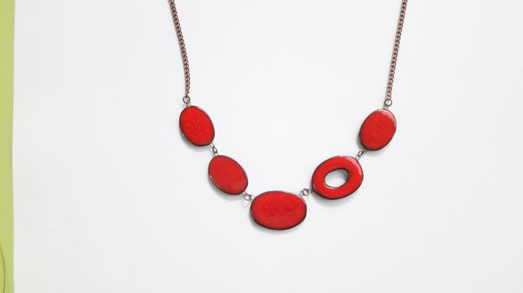 Red handmade ceramic necklace