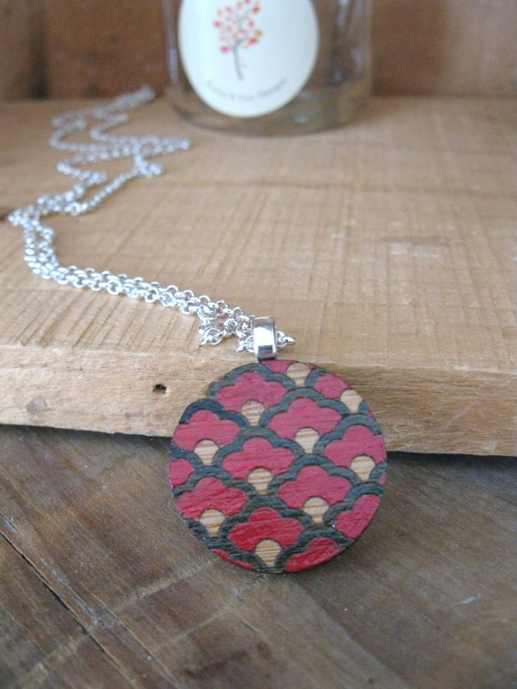 Laser Cut Wooden Disc Pendant Necklace, Hand Painted Oriental Scallop Design by BunnaAndDooDesigns on Etsy