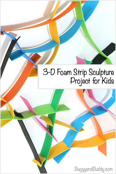 3-D Foam Sculpture Art Project for Kids~ BuggyandBuddy.com