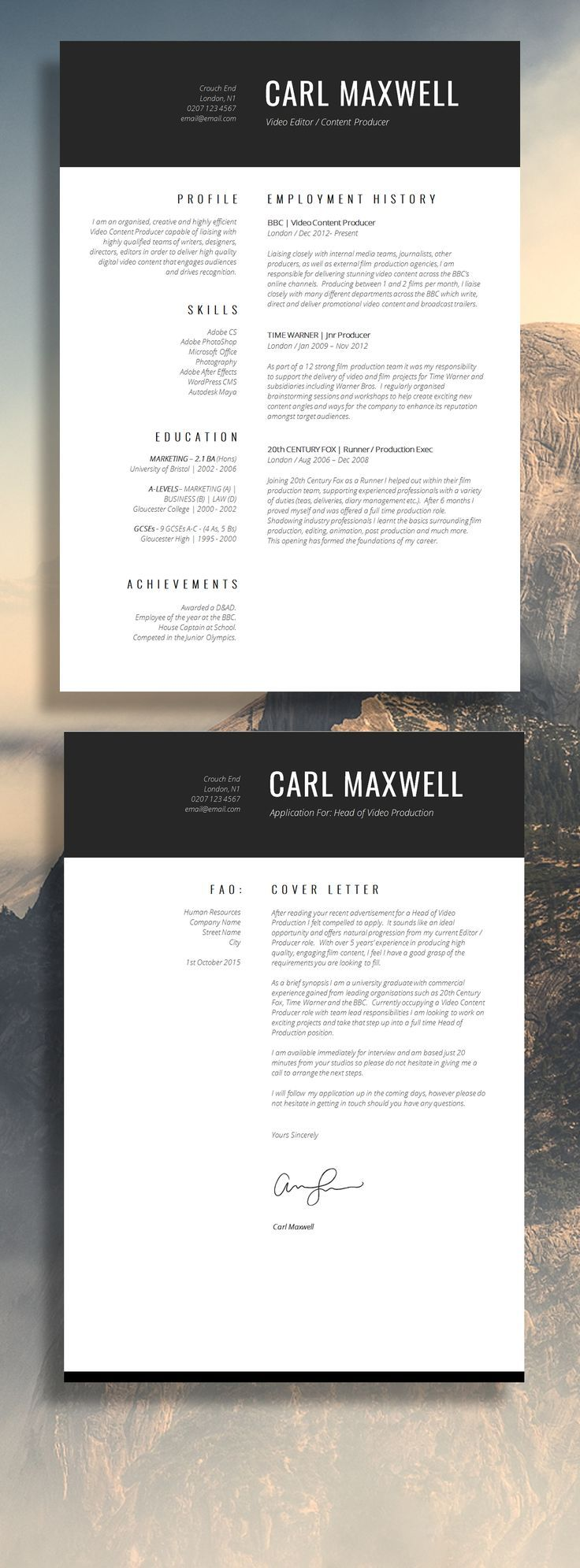 Professional Single Page Resume Template - Get that job!