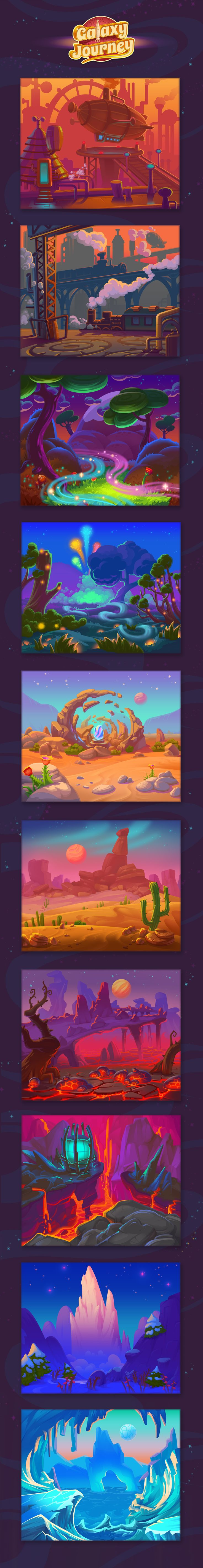 Game Background. Landscapes art for different planets in game.