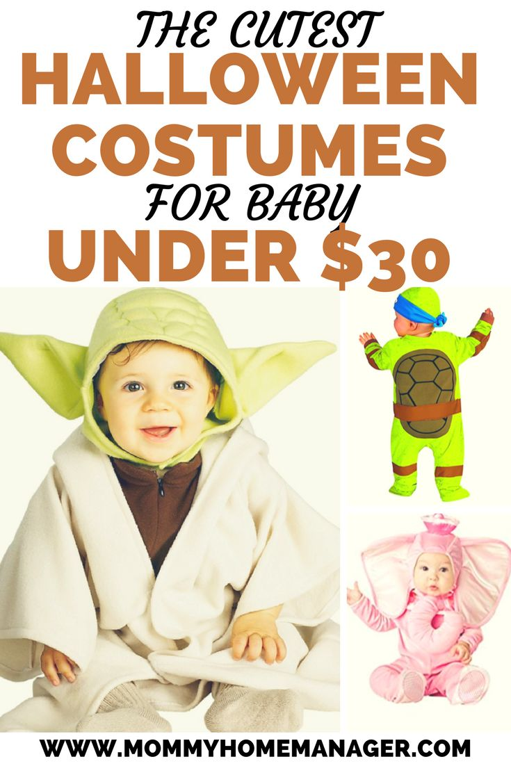 Finding an adorable baby Halloween costume idea doesn't have to cost a fortune. Check out these great options available for under $30. Affordable baby costumes. Budget baby costumes. Baby Halloween costume ideas. Halloween costumes for baby.