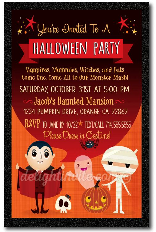 24 best vintage halloween party invitations images on for Vintage halloween party invitations