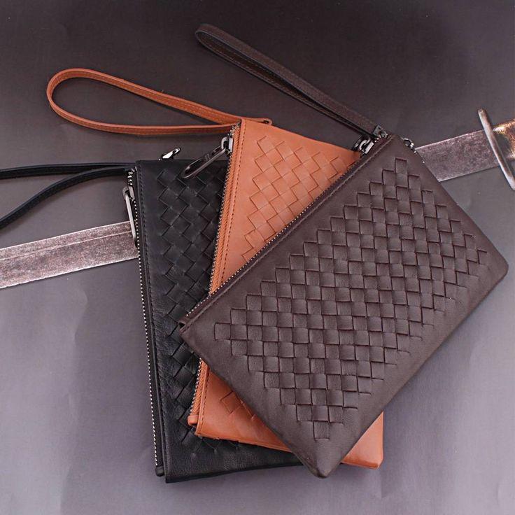 Кожаный модный оригинальный клатч Bottega Veneta черный, коричневый и рыжий в интернет-магазине Шопоголик