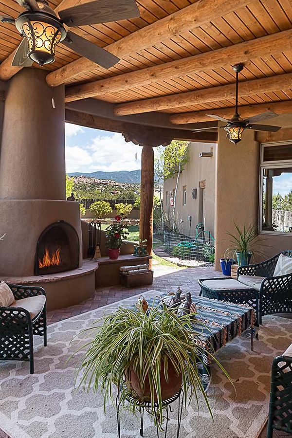 Santa Fe Living At Its Finest Enjoy A Beautiful Santa Fe Day Sipping Some Coffee And Admiring The Views Under Outdoor Fireplace Santa Fe Home Fireplace Design