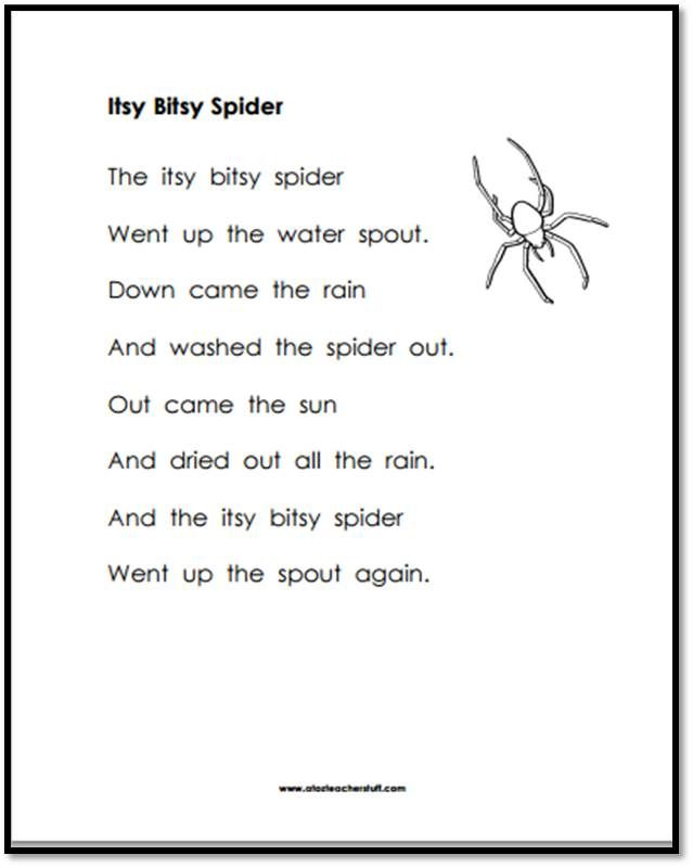 Itsy Bitsy Spider Printable Page {free printables}