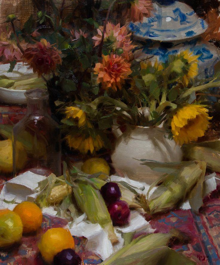 Still-life with Corn & Sunflowers--Daniel Keys